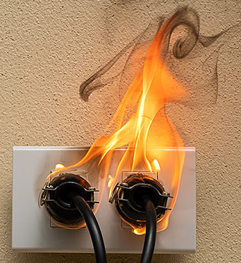 Electric Outlet on Fire